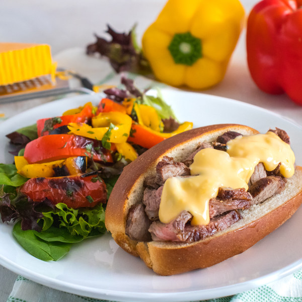 Philly Cheesesteaks with Quick-Pickled Pepper Salad
