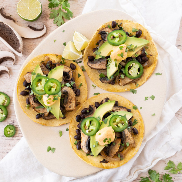 "Vegetarian Spicy Portobello ""Carnitas"" Tacos with Beans & Chili Mayo"