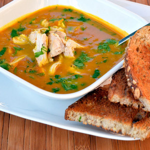 Curried Coconut Pumpkin Soup with Chicken & Crusty Bread