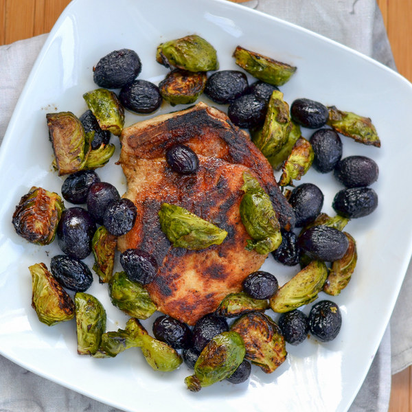 Dijon Pork Chops with Roasted Brussels Sprouts & Grapes