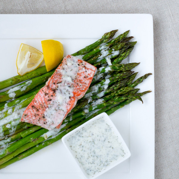 Roasted Salmon & Asparagus with Lemon-Dill Yogurt Sauce