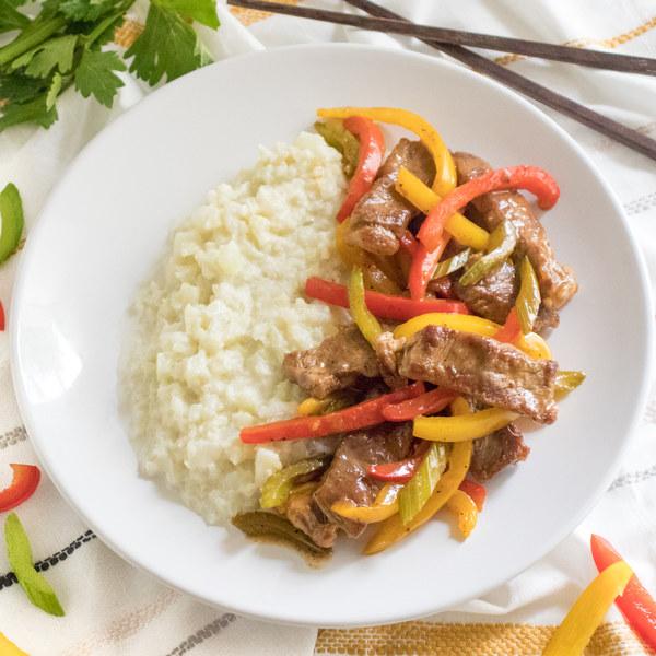 Peppery Steak Stir-Fry with Creamy Garlic-Coconut Cauliflower Rice
