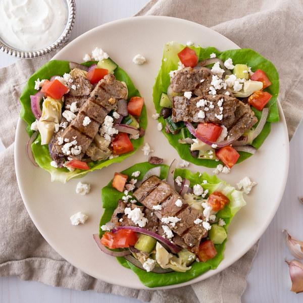Grilled Steak & Greek Salad Lettuce Wraps with Garlicky Yogurt Sauce