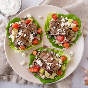 Grilled Steak & Greek Salad Lettuce Wraps with Garlicky Yogurt Sauce