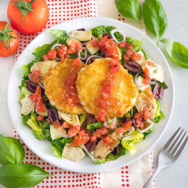 Italian Garden Salad with Crispy Mozzarella & Chunky Tomato Dressing