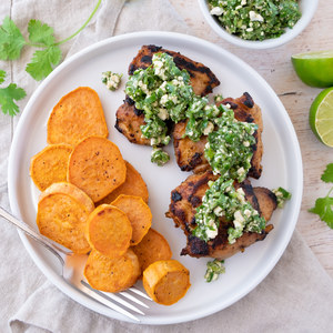 Spicy Peruvian Roast Chicken with Sweet Potatoes & Cilantro-Feta Salsa