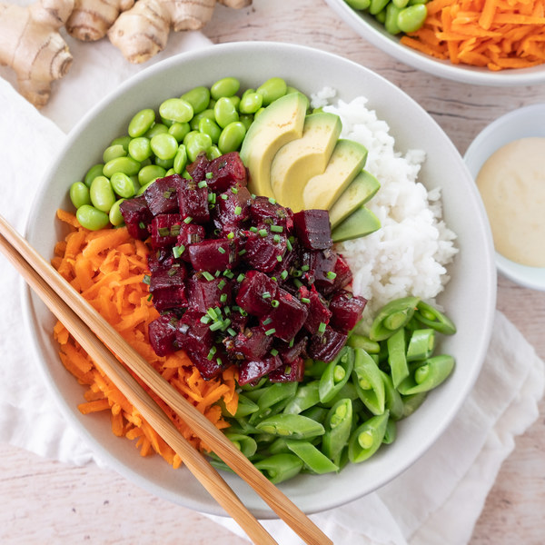 "Vegan Beet ""Poke"" Bowl with Edamame, Snap Peas, Carrots & Sesame Mayo"