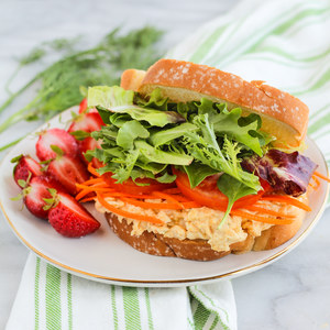 Creamy Dill Chickpea Salad Sandwich with Strawberries