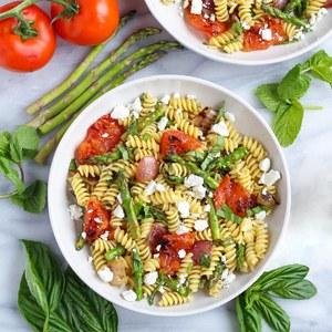 Grilled Vegetable Pasta Salad with Herbs & Goat Cheese