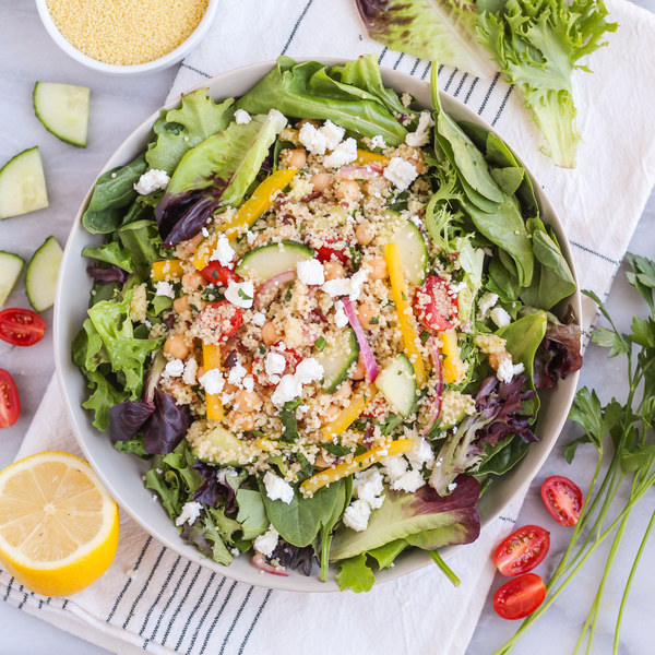 Couscous Greek Salad with Spring Greens & Feta