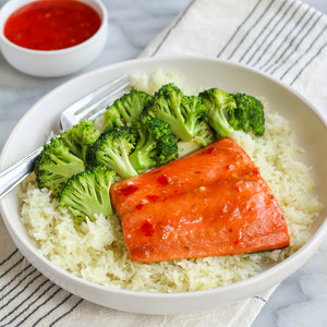Simple Sweet Chili Salmon with Sesame Broccoli & Rice