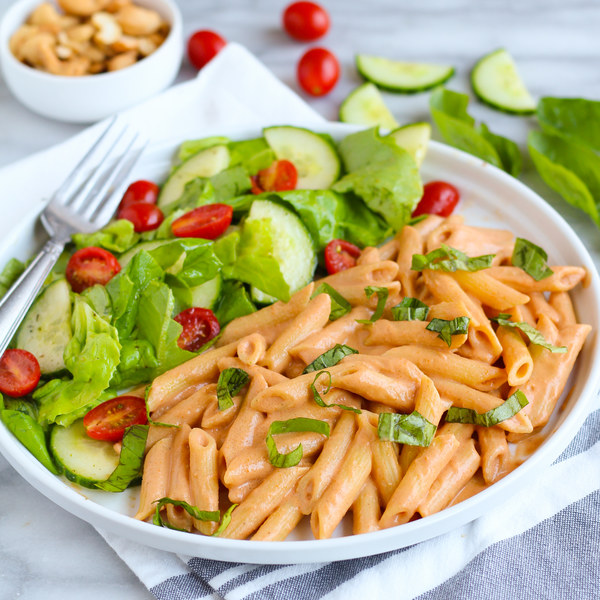 "Creamy Vegan Cashew ""Parma Rosa"" Penne with Fresh Basil & Side Salad"