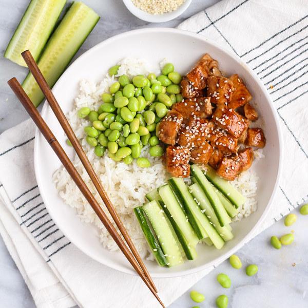 Maple-Teriyaki Salmon Sushi Bowls with Cucumber & Edamame
