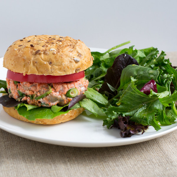 Salmon Burgers with Mixed Greens