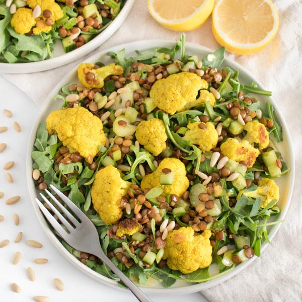 Lemon-Curry Lentil Salad with Crunchy Cauliflower, Cucumber & Arugula