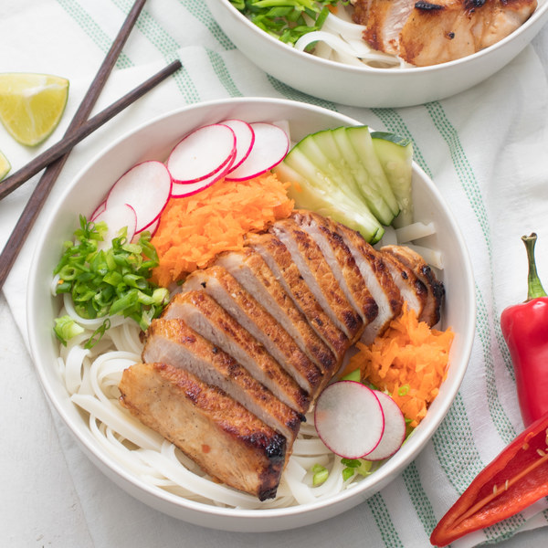 Spicy Vietnamese Pork Noodle Bowls with Carrot, Cucumber & Radish