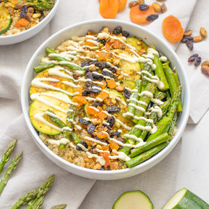 Roasted Veggie, Dried Fruit & Pistachio Quinoa Bowl with Curry Yogurt