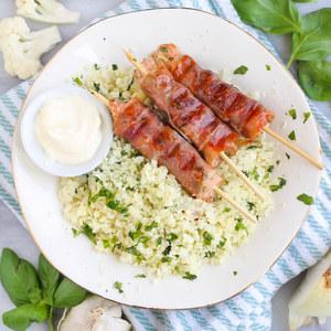 Prosciutto Wrapped Basil-Salmon Kabobs with Cauliflower Rice