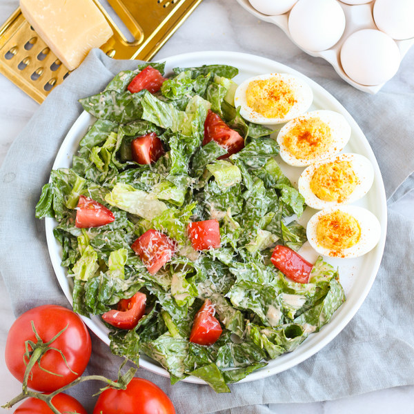 Caesar Salad with Tomatoes & Creamy Dijon Deviled Eggs