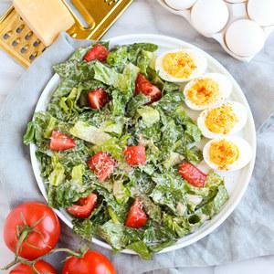 Caesar Salad with Tomatoes & Creamy Dijon Deviled Eggs
