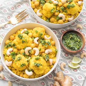 Biryani with Chickpeas, Cashews, Cauliflower and Jalapeño-Mint Chutney