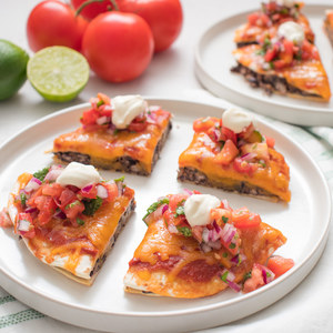 """Baked Black Bean & Cheddar """"Mexican Pizza"""" with Pico de Gallo"""