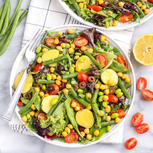 Vegetarian Niçoise Salad with Lemony Chickpeas & Dijon Vinaigrette