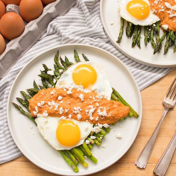 Roasted Asparagus with Fried Eggs & Homemade Romesco Sauce