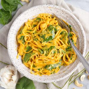 "Creamy Vegan Cashew Pumpkin ""Alfredo"" Linguine with Baby Spinach"