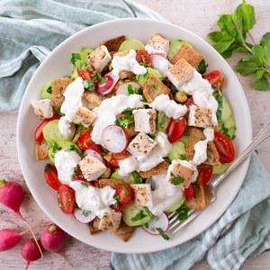Mediterranean Chicken & Bread Salad (Fattoush) with Feta Dressing