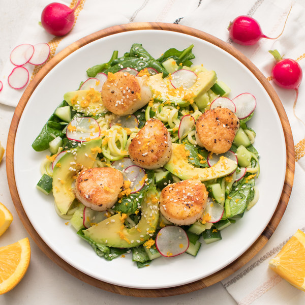 Scallop Zucchini Noodle Salad with Spinach, Radish & Citrus Dressing