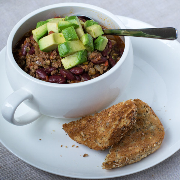 Classic Beef Chili with Avocado & Crusty Bread