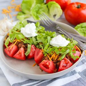 Beef & Cheddar Taco Stuffed Tomatoes with Lettuce & Greek Yogurt