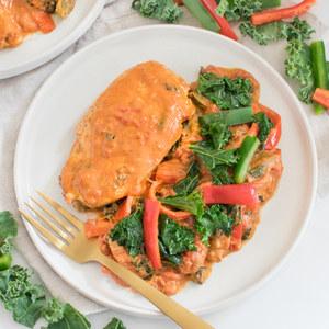 Creamy Cajun Chicken with Bell Pepper & Kale Sauté