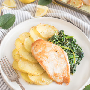 Greek Garlic Chicken & Potatoes with Sautéed Lemon Spinach