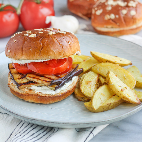 Grilled Eggplant Sandwich with Tomato, Goat Cheese & Rosemary Potatoes