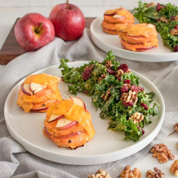 Sweet Potato-Apple Gratin Stacks with Kale, Walnut & Cranberry Salad