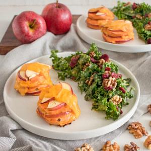 Sweet Potato-Apple Gratin Stacks with Kale, Walnut & Cranberry Salad