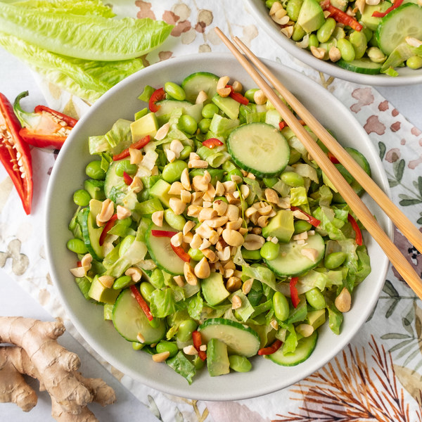 Spicy Edamame Salad with Creamy Ginger-Peanut Dressing & Avocado