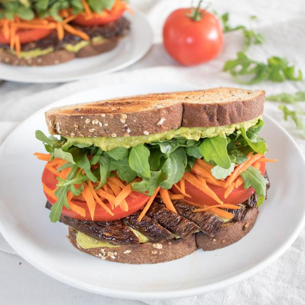 Mushroom Sandwich with Avocado-Mayo Spread, Arugula, Tomato & Carrot