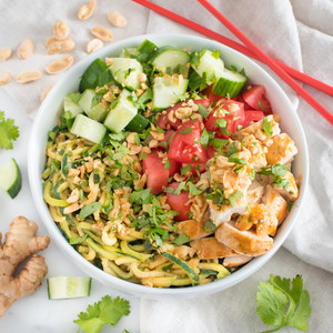 Chicken Satay Bowl with Peanut-Zucchini Noodles, Cucumber & Tomato