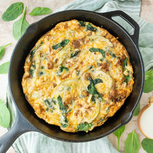 Sausage, Spinach & Artichoke Frittata with Parmesan