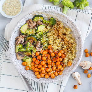 Sesame Roasted Chickpea & Veggie Bowl with Quinoa
