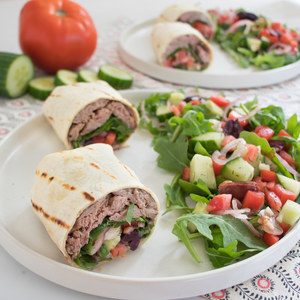 Turkish Steak Wrap with Arugula, Tomato, Cucumber & Olive Salad