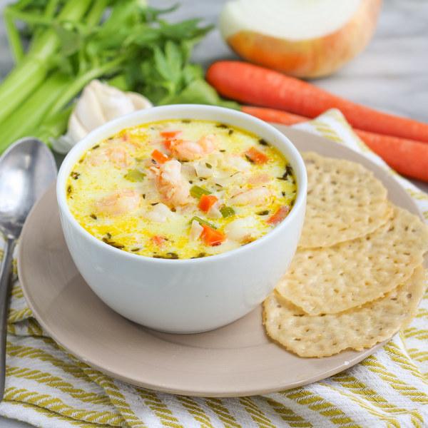 Creamy Shrimp & Veggie Soup with Parmesan Crisps