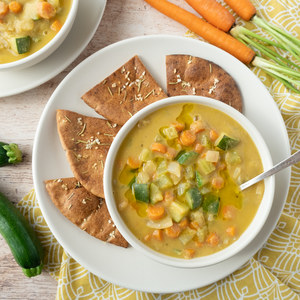 Cream of Chickpea Soup with Toasted Rosemary Pita