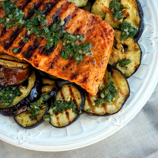 Paprika Salmon with Grilled Eggplant & Basil Vinaigrette
