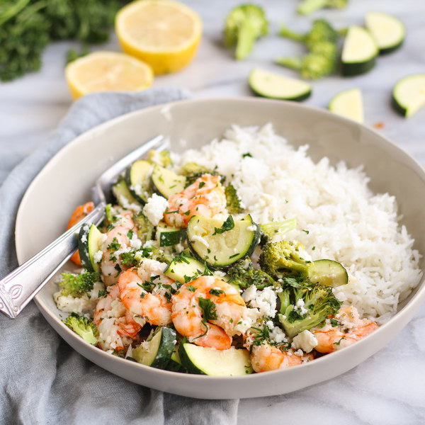 Baked Shrimp, Broccoli, Zucchini, Garlic & Feta Medley over Rice
