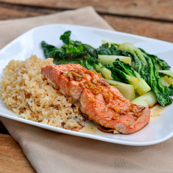 Honey-Soy Glazed Salmon with Sautéed Bok Choy & Basmati Rice