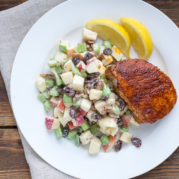Paprika Pork Chops with Waldorf Salad